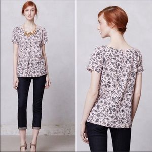 Anthropologie Portrait of a Girl Pink floral top